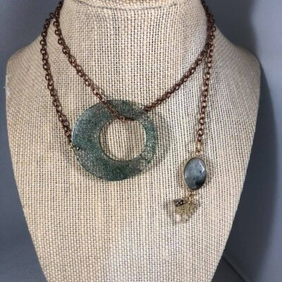 Green Cocoon with Labradorite Lariat Necklace by  Color By Amber