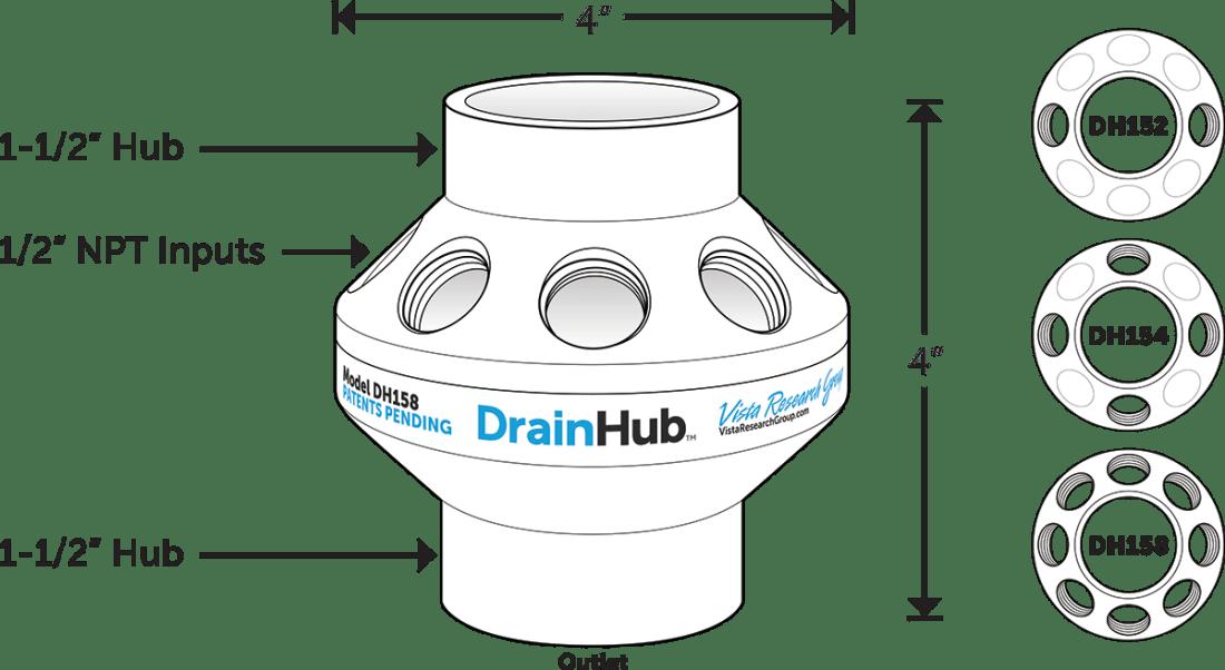 Vista DrainHub multi-port drain adapter