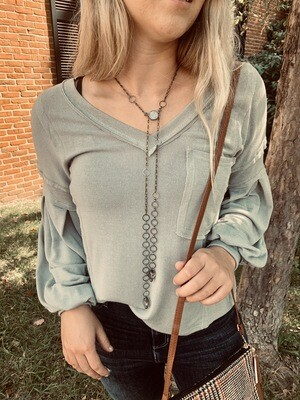 Grey Casual V-Neck Woven Top with Detailed Sleeves