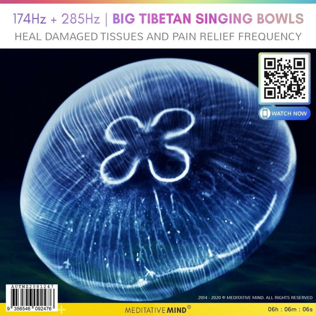 174Hz + 285Hz | BIG TIBETAN SINGING BOWLS  - Heal Damaged Tissues and Pain Relief Frequency