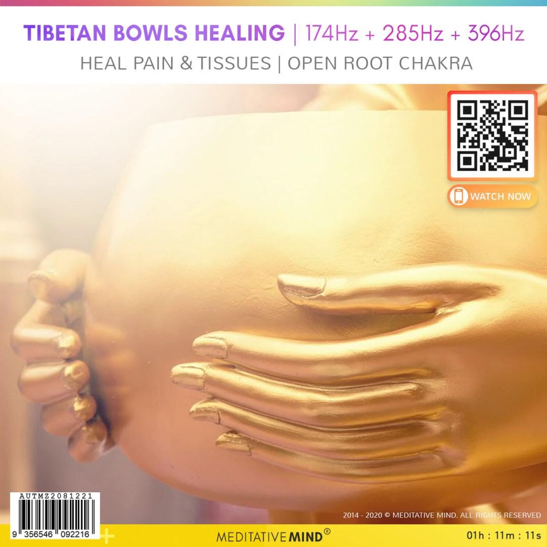 Tibetan Bowls Healing | 174Hz + 285Hz + 396Hz -  Heal Pain & Tissues | Open Root Chakra
