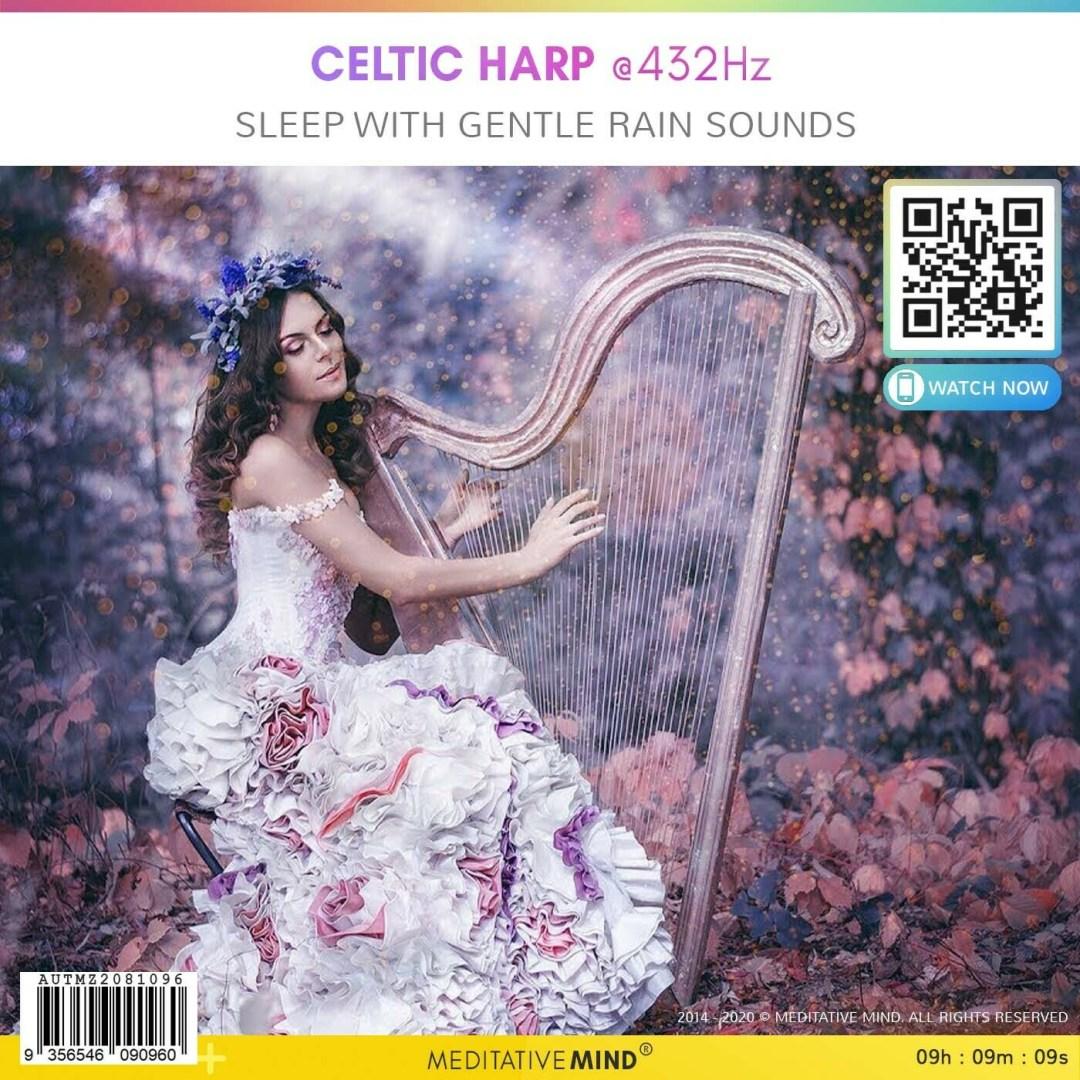 Celtic Harp @432Hz - Sleep With Gentle Rain Sounds