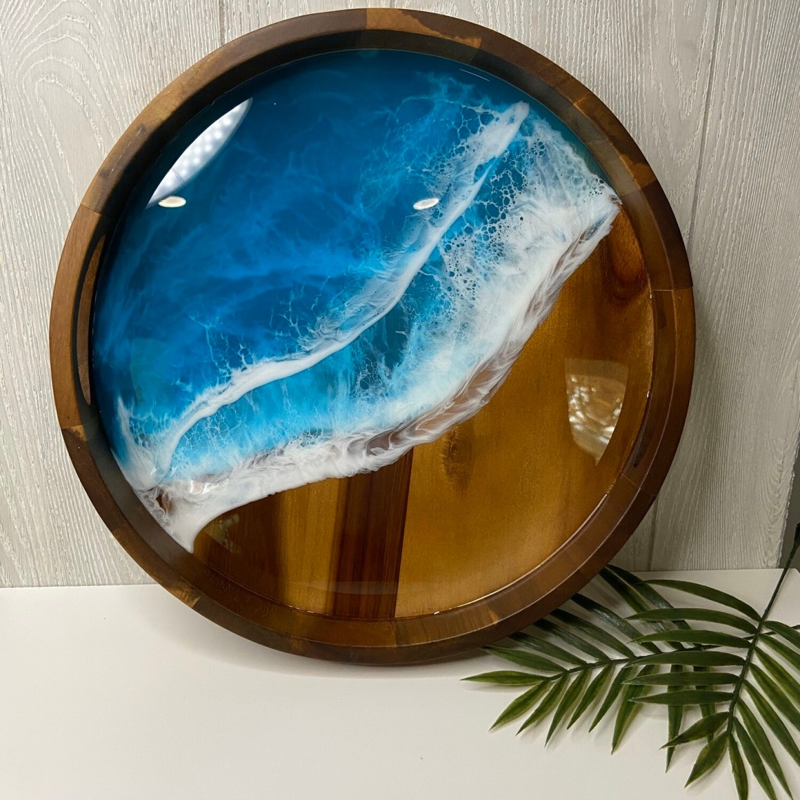 Resin Wave Acacia Wood Tray