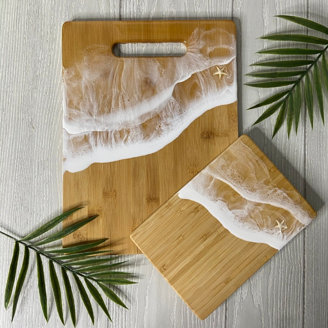 Resin Bamboo Cutting Board Set - White
