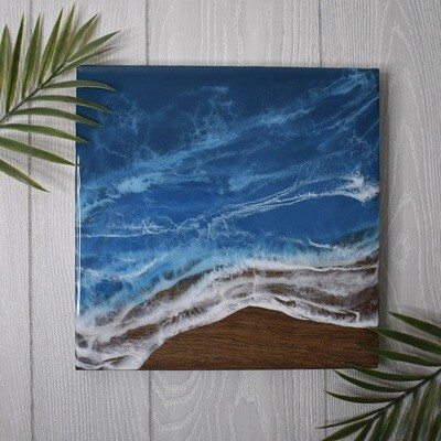 Resin Waves on Dark Finished Wood