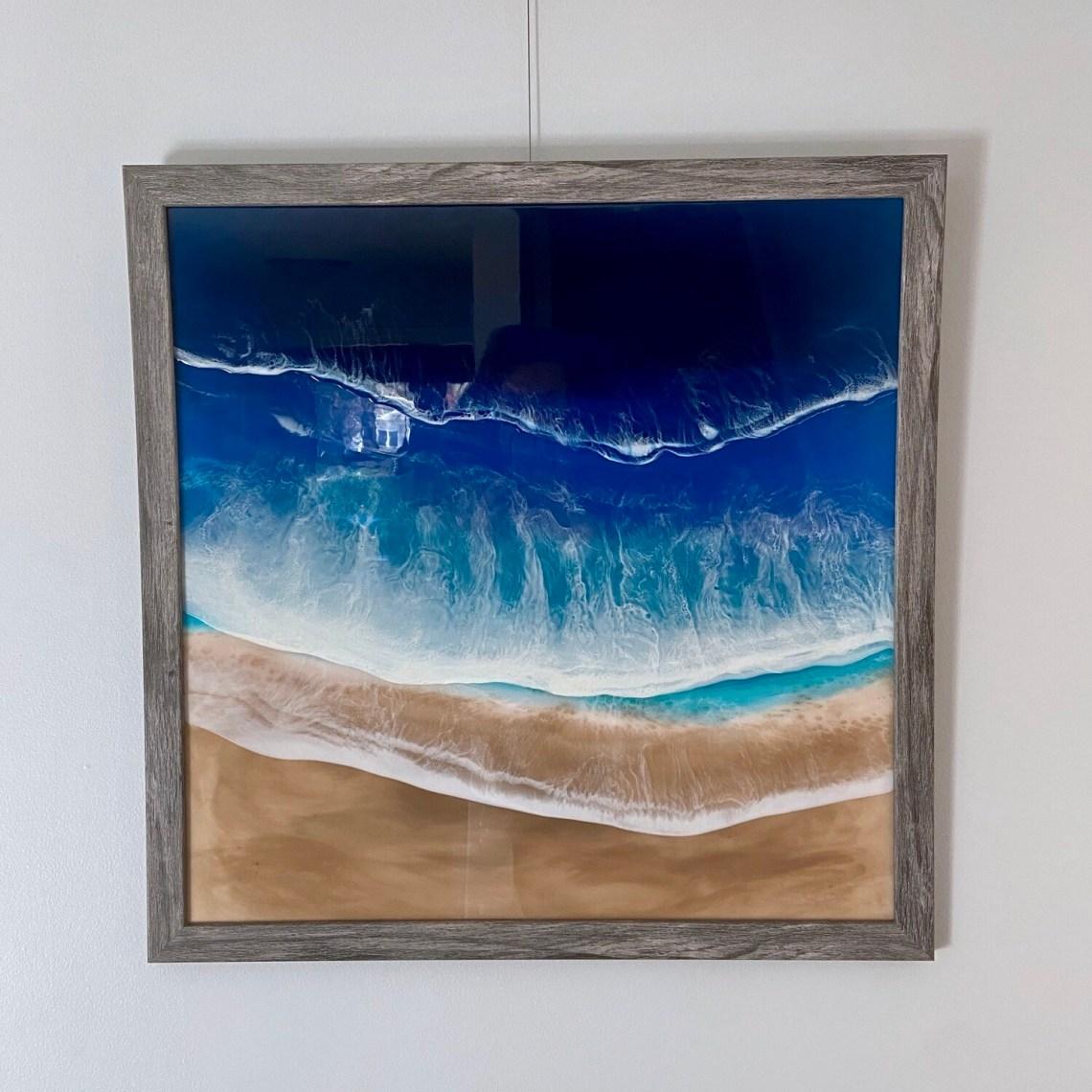 Framed Beach Resin Painting