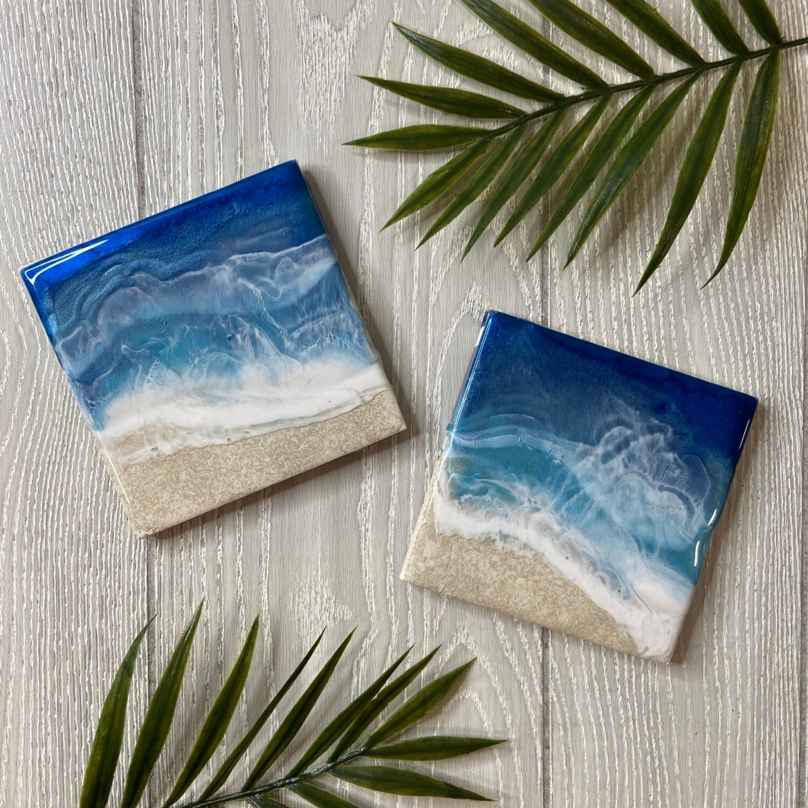Resin Wave Ceramic Coaster Set