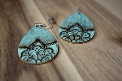 Teal Wood Earrings