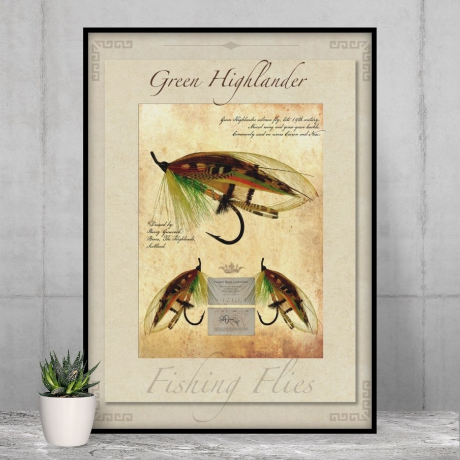 Green Highlander Salmon Fly - High Quality Vintage-Style Print