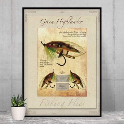 Green Highlander Salmon Fly - High Quality Vintage-Style Print