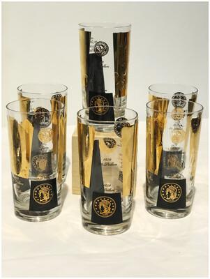 Mid Century Cera Coin Black & Gold Set of 6 Highball Glasses