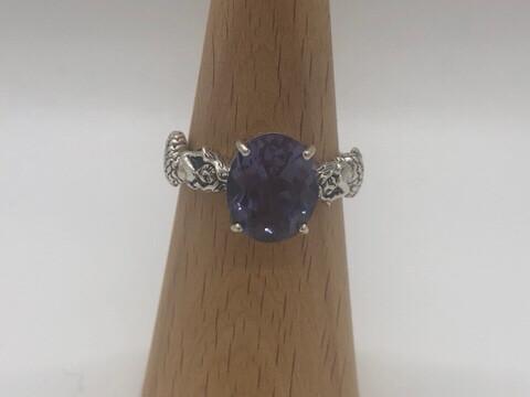 Sterling Silver Round Alexandrite Mermaid Ring