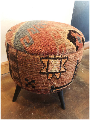 Vintage Handmade Repurposed Turkish Rug Stool