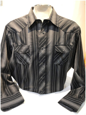 Vintage Wrangler Men's Black & White Western Shirt