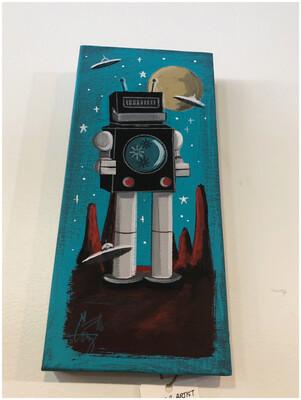 Vintage Inspired El Gato Gomez Robot Original Art
