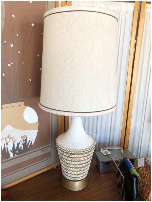 Mid Century Ceramic Table Lamp With Original Shade