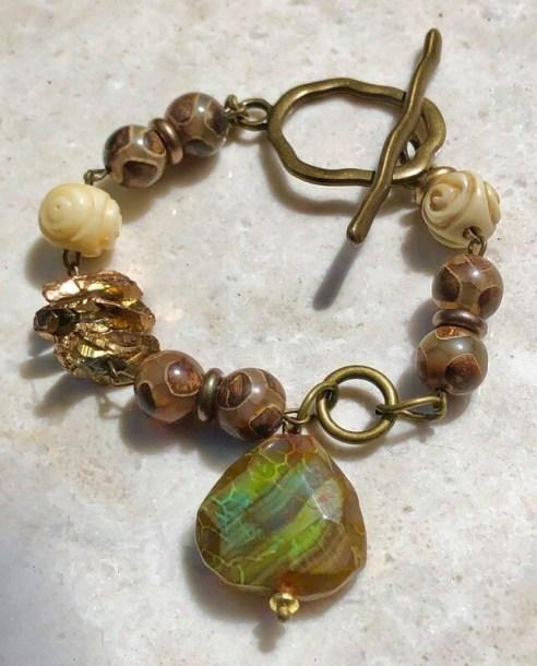 Agate, Crystal And Brass Bracelet