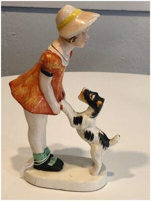 Vintage 1940's Detailed Ceramic Little & Terrier Made In Japan
