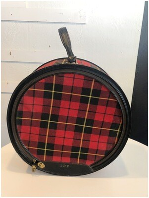 1950's Atlantic Products Tartan Plaid Hat Box