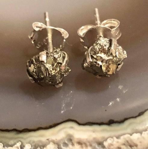 Pyrite Gemstone Sterling Silver Post Earrings