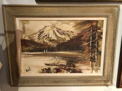Mid Century Mountain Scene Framed Painting