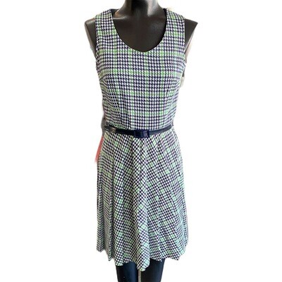 Vintage 1960's St. Michael's Sleeveless, Belted Print Dress
