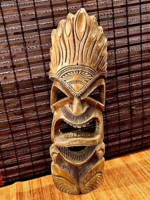 Hand Carved Tiki Warrior Wall Hanging