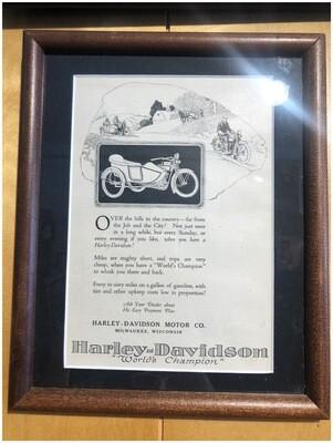 1920 Framed Harley Davidson Ad