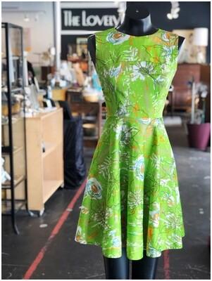Vintage 1970's Handmade Sleeveless Print Dress