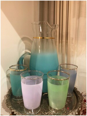 Vintage Blendo Pitcher with Four Glasses