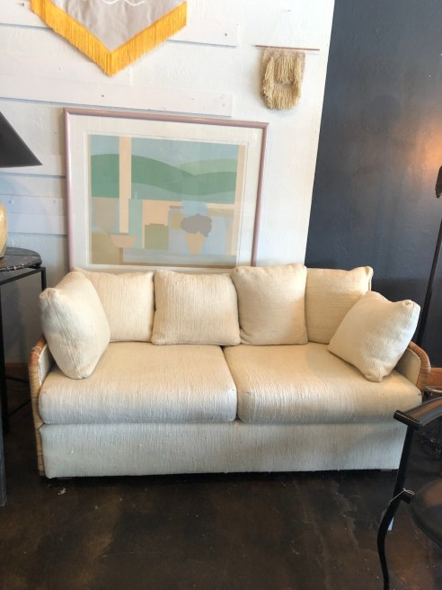Mid Century Sofa with Rattan Sides