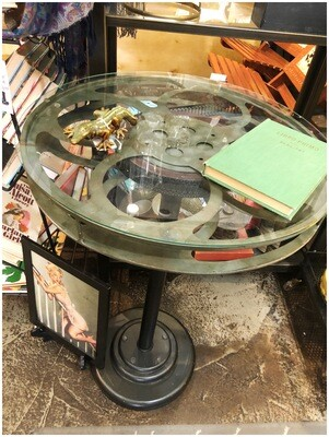 Movie Reel Pub Table with Glass