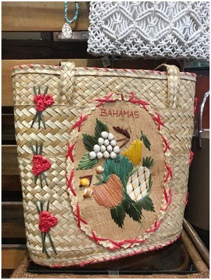 Vintage Bahamas Straw Beach Bag