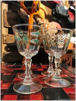 1950's Teal & Gold Atomic Cocktail Glasses