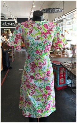 Vintage 1970's Mod Floral Dress