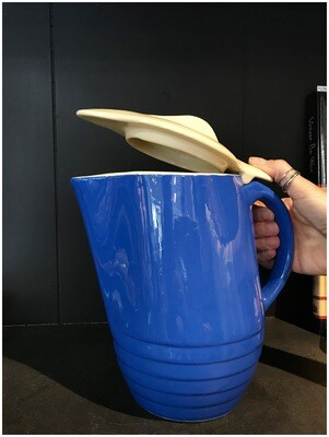 Vintage 1950's Blue Pitcher with Lid