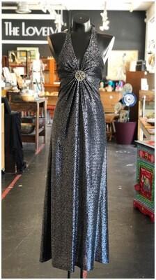 Vintage 1970's Corky Craig Metallic Halter Dress