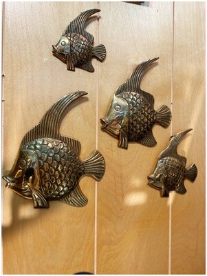 Mid Century Set of Four Brass Fish Wall Decor