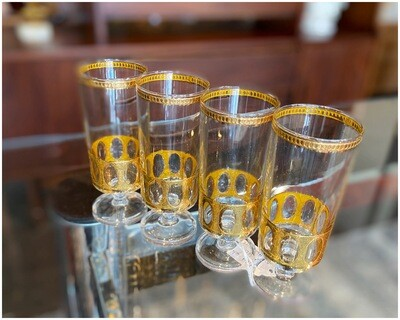 Mid Century Culver 22kt. Gold Champaign Glasses
