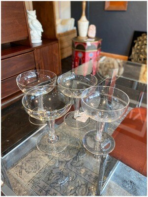 Vintage Set of Four Fluted Coupe Glasses