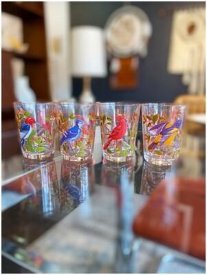 Vintage Bird Juice Glasses