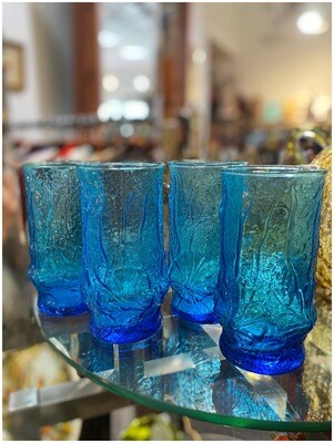 Vintage Capri Blue Floral Glasses
