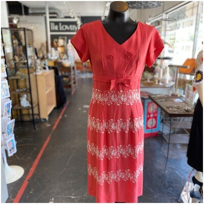 Vintage 1960's Handmade Embroidered Dress