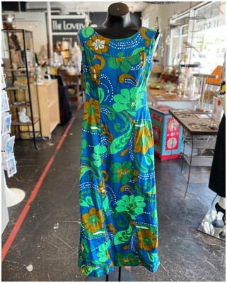Vintage Hawaiian Maxi with Green, Blue & Brown Flowers