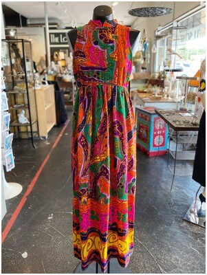 Vintage Bright Psychedelic Open Back Maxi