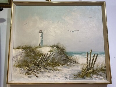 Vintage Signed Beach Scene Oil Painting