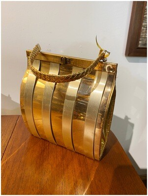 Vintage 1960's Gold Metal Box Purse