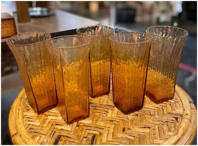 Vintage Set of Amber Highball Glasses
