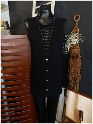 Modern Black Denim Laced Tie Chest Top