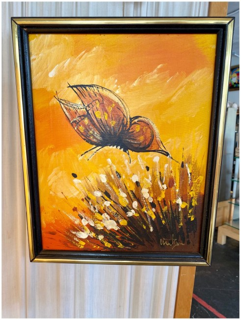 Mid Century Framed Butterfly Oil Painting